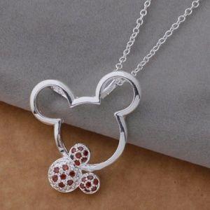 Jewelry - Mickey Necklace Red White CZ 925 Silver